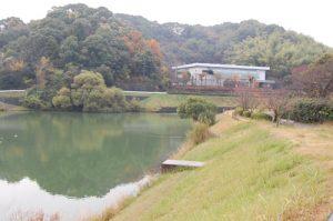 考古館の前のため池